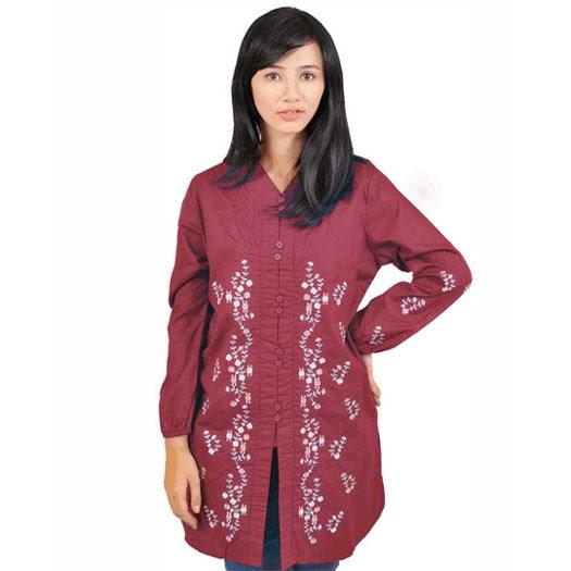 baju tangan panjang katun merah