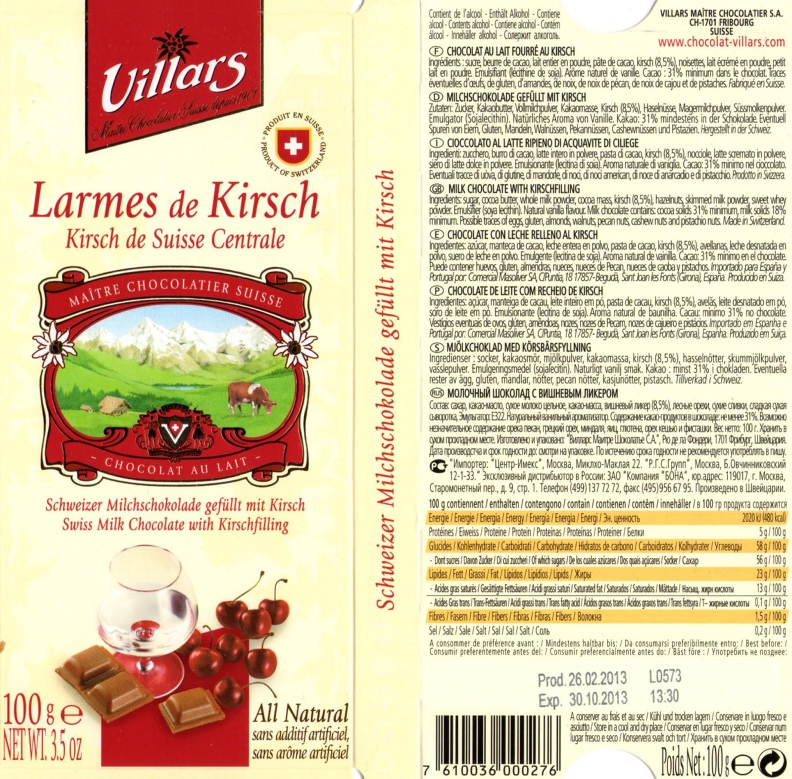 tablette de chocolat lait fourré villars lait larmes de kirsch