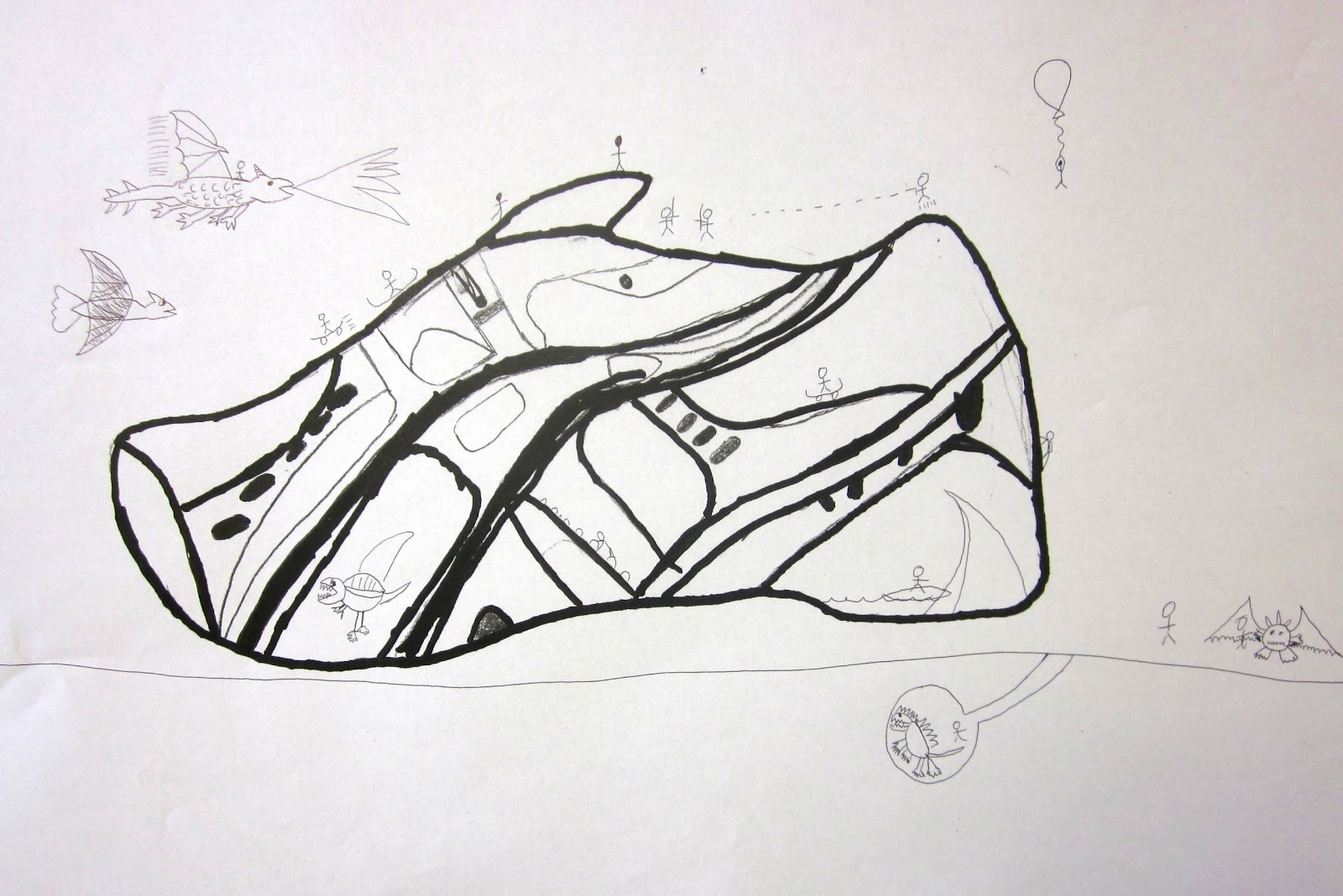 Line Drawing Shoes : Art is basic teacher contour line drawings of