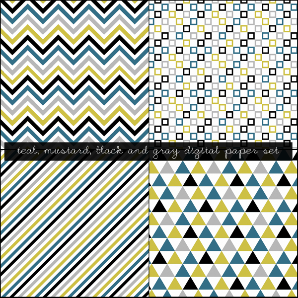 Free Mustard, Black, Teal and Gray Digital Paper