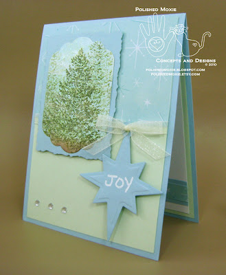 Picture of left angle view of my handmade evergreen trees Christmas card with a Joy tag