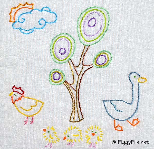Piggy pile fowl embroidery the reveal