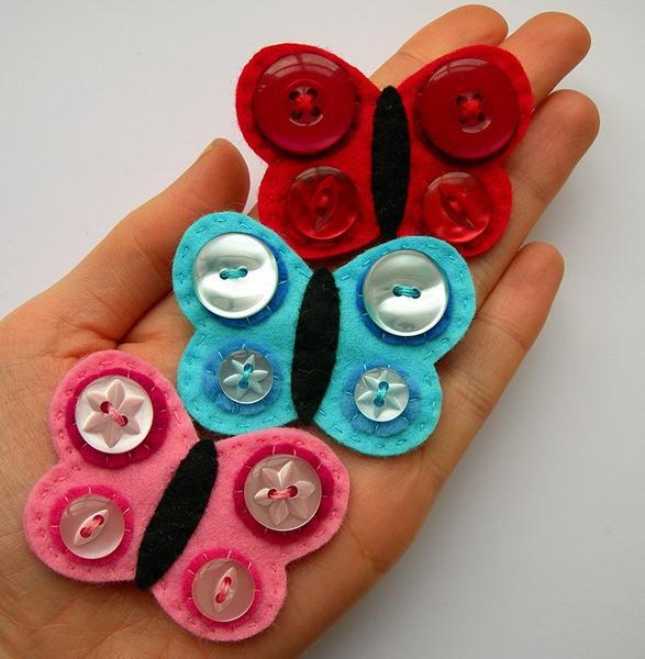 Manualidades broches f ciles de mariposas con botones - Manualidades de botones ...