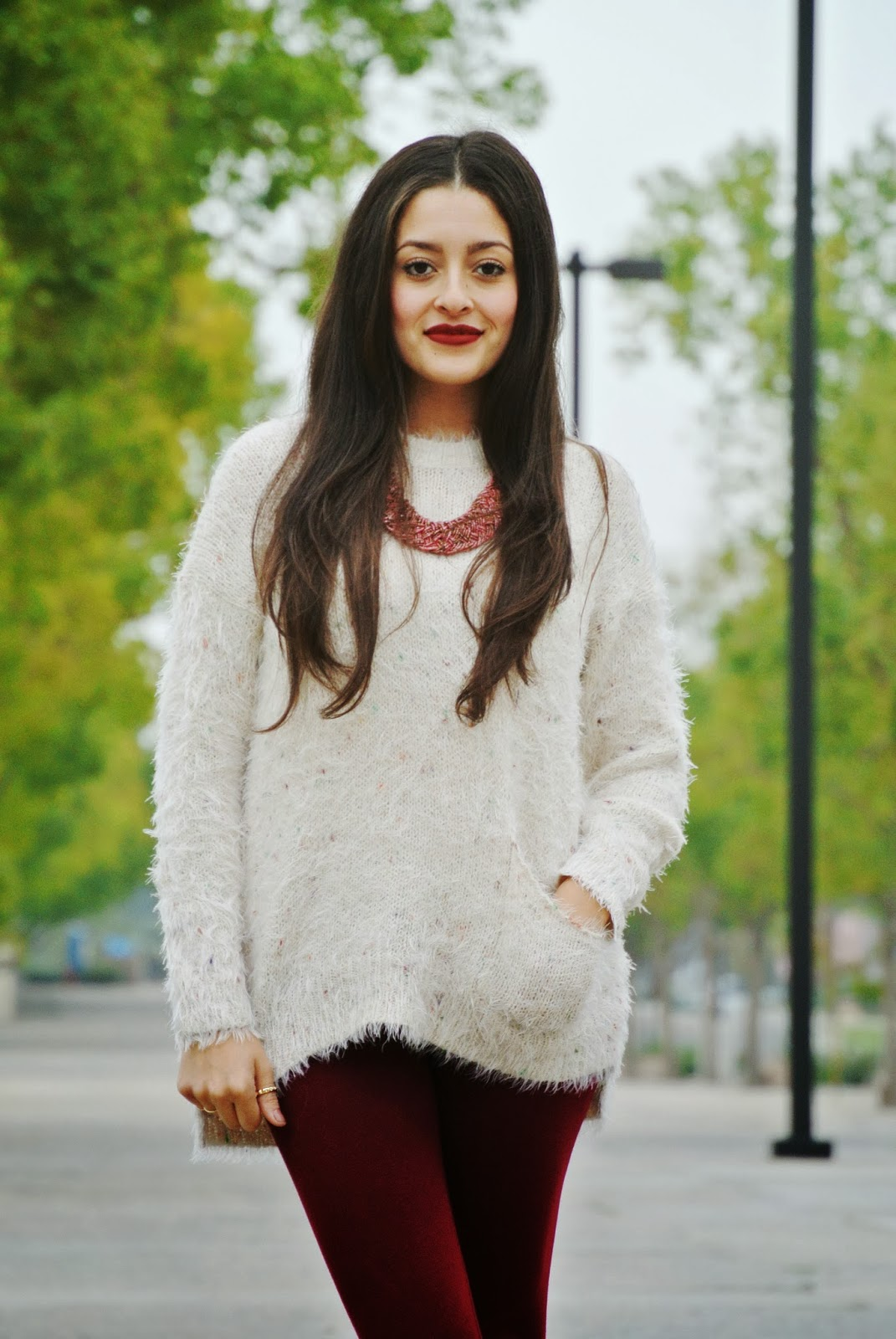 fuzzy sweater burgundy leggings coral necklace