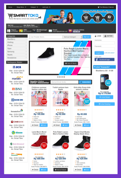Harga template toko online