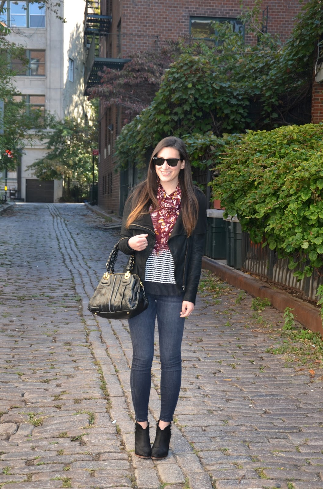 moments of chic with piperlime   striped sweater + faded black denim