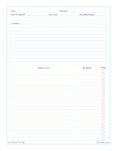 free printable, home work planning, kids section, home management binder, student planner
