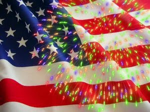 American flag with fireworks photo