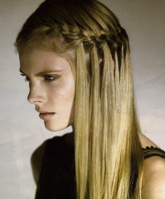Long straight hairstyles with French braids