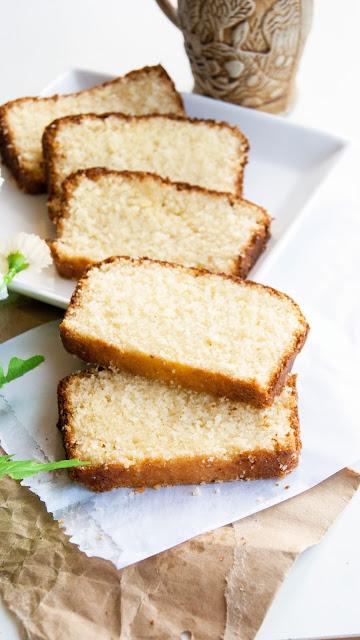 Moist and fluffy Honey vanilla pound cake.