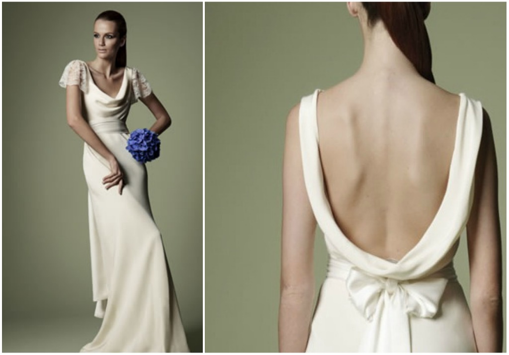 1940s style silk wedding gown with cowl front and back