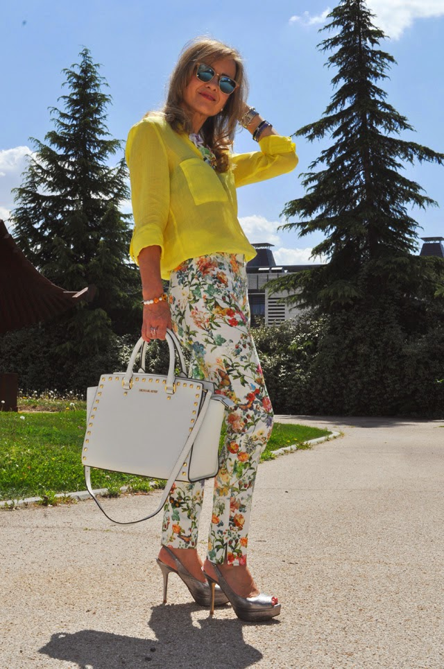 Floral pants and yellow shirt