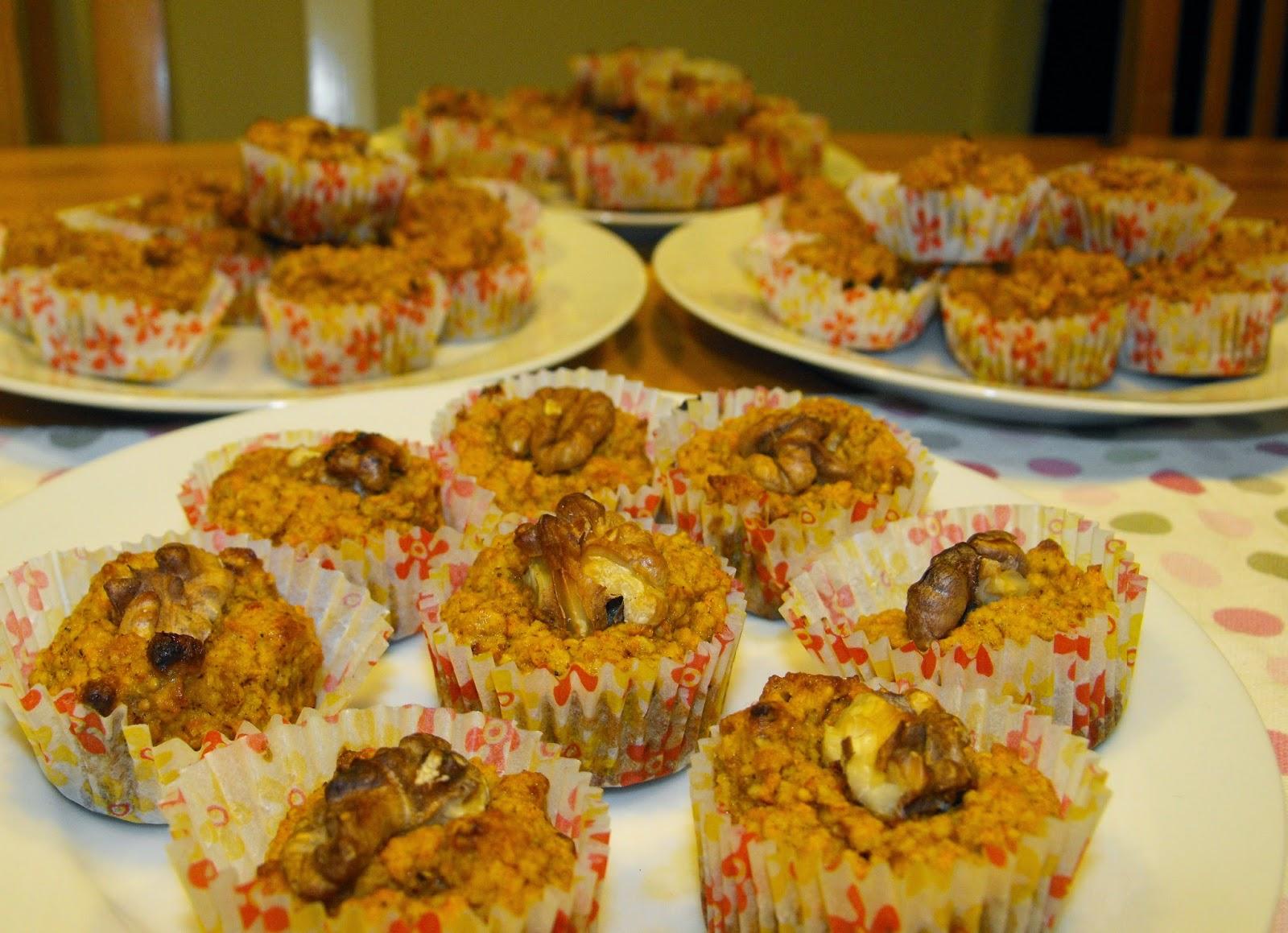Morotsmuffins, Paleo, Glutenfritt, laktosfritt, morötter, mandelmjöl, ägg, valnötter, fikon