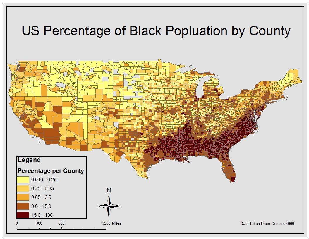 from this map it is obvious that counties with the highest percentage of black population are located in the southeastern area of the united states