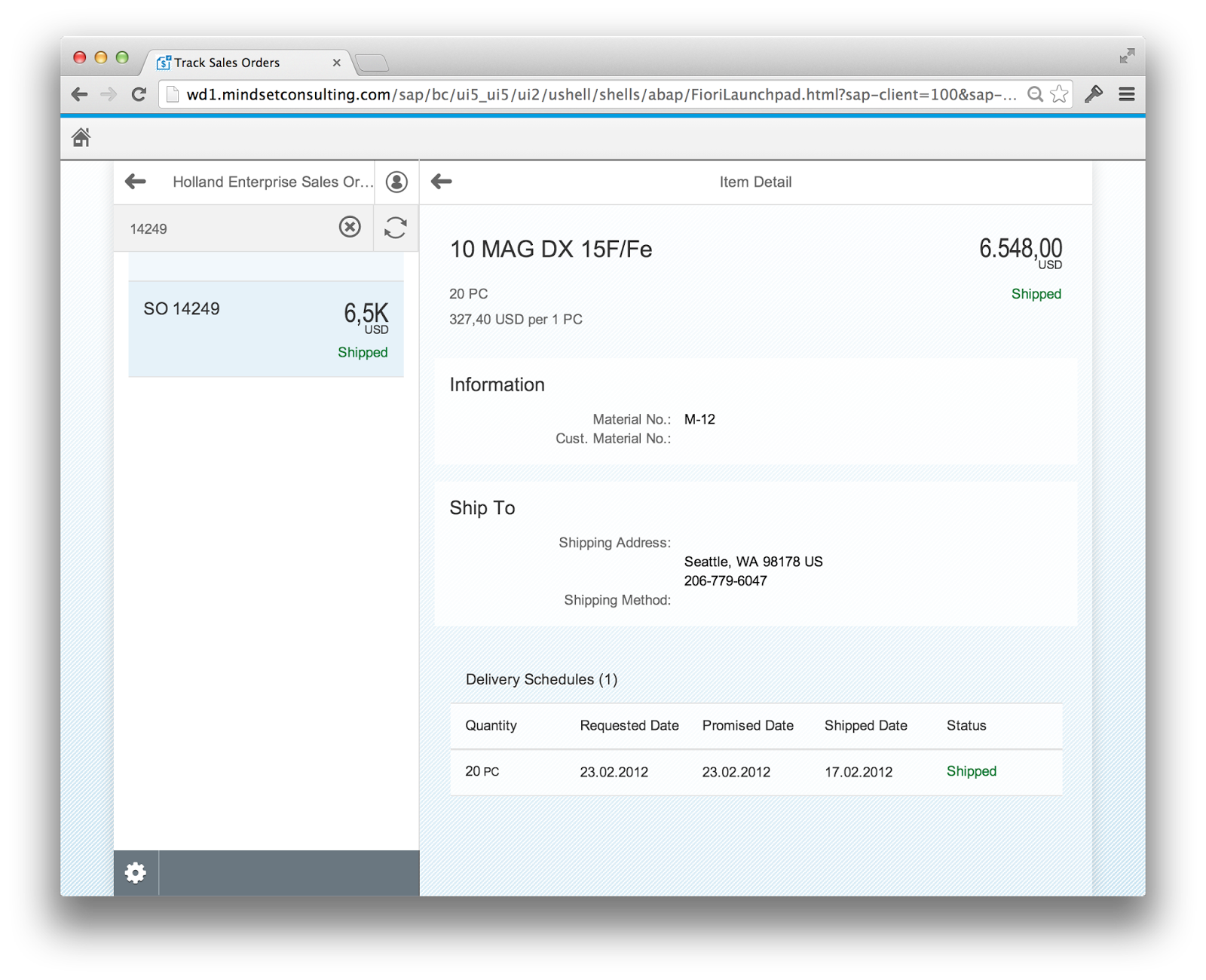 SAP Fiori Track Sales Order - Item Details
