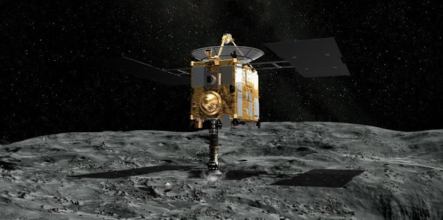Artist's concept of the Hayabusa 2 spacecraft collecting samples from a crater created by the probe's small impactor. Credit: Akihiro Ikeshita/JAXA