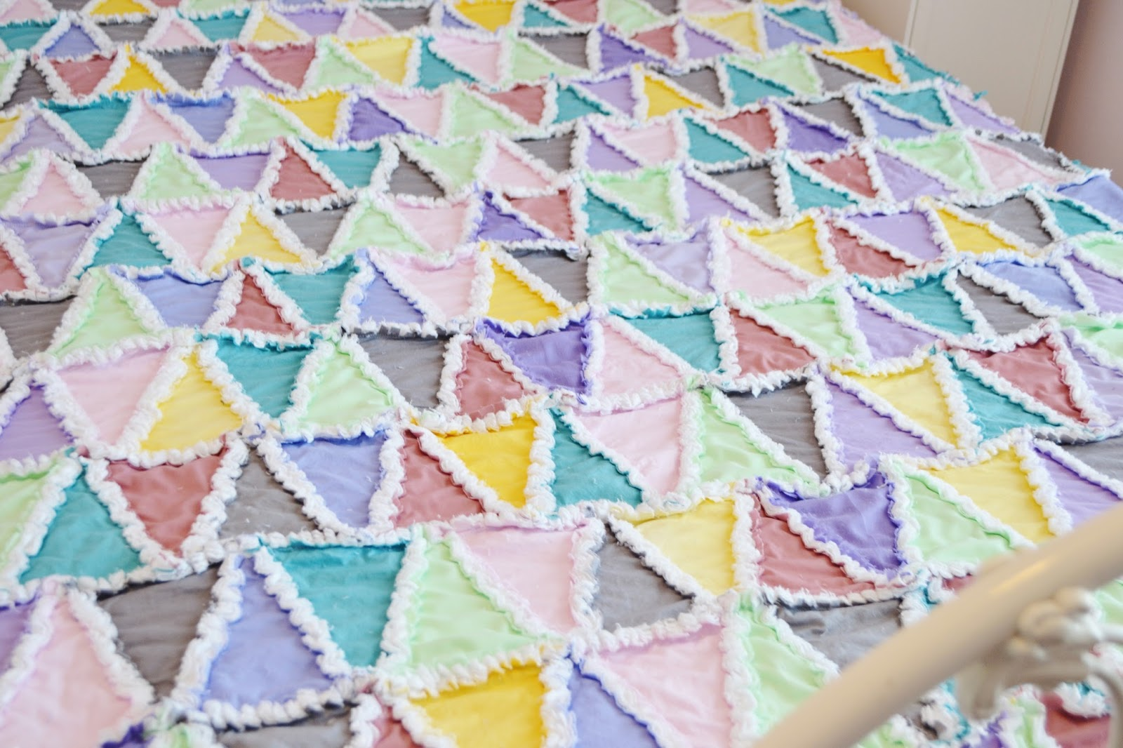 Pastel Triangle Rag Quilt In Pink Green Blue Purple Gray And