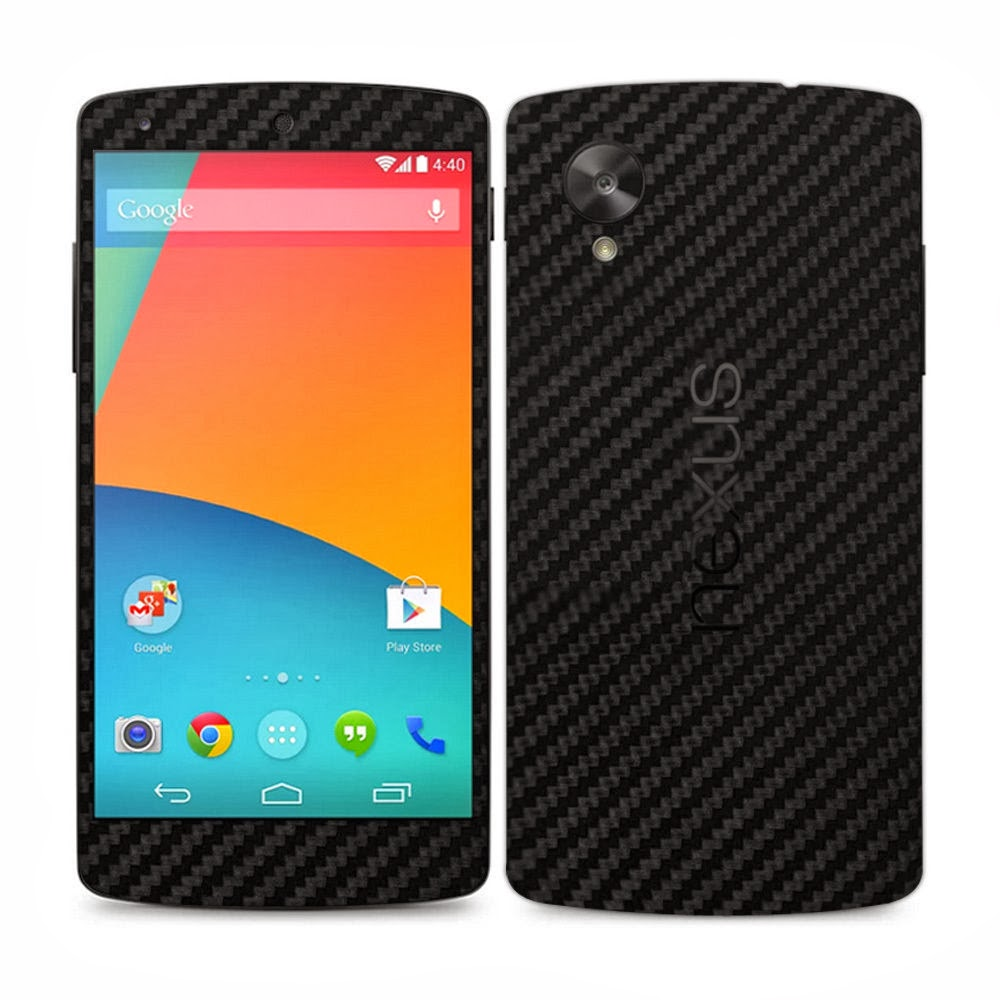 2 X Black Carbon Fibre Skin Sticker Full Body Wrap For LG Google Nexus 5 / E980