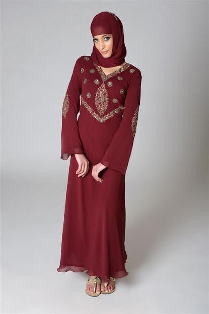Red Embellished Abaya 2012