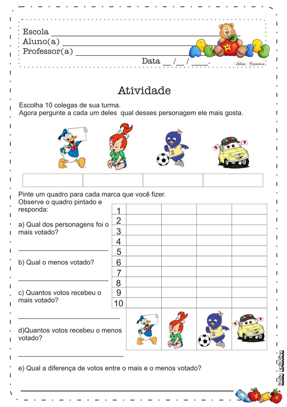 Atividade Pesquisa e Interpretação de Gráfico Personagens Desenho Animado