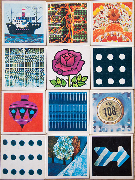 Memory game card collage.