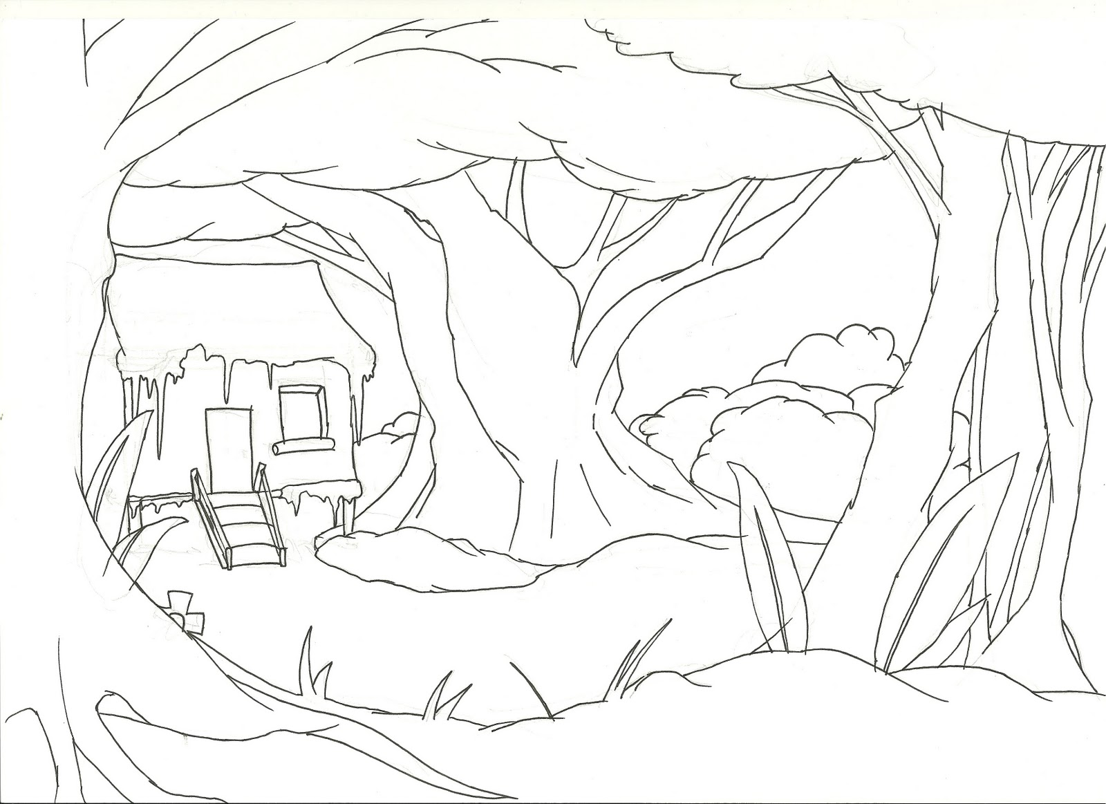 jungle background coloring pages - photo#8