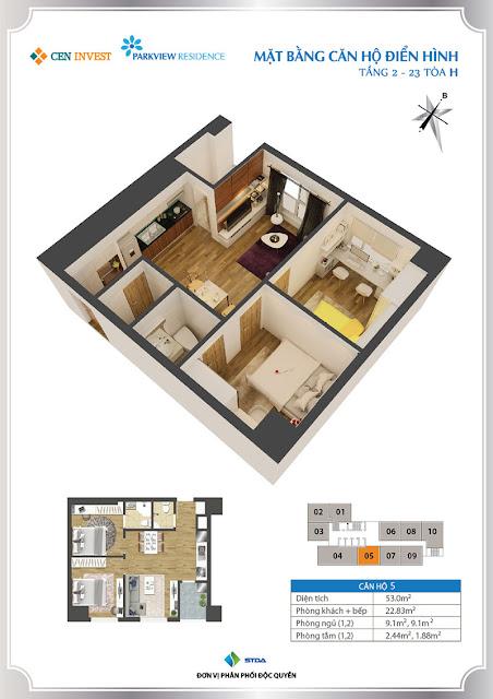 Thiết kế căn hộ 05 chung cư Park View Residence