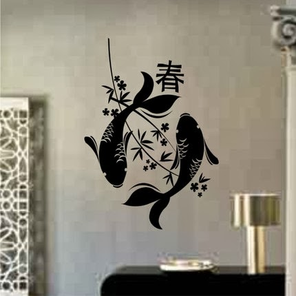 Wall decal quotes japanese wall art cool japanese for Koi fish metal art