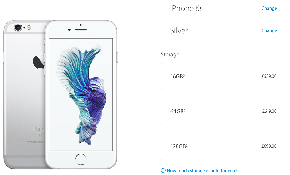 iphone 6s UK pricing