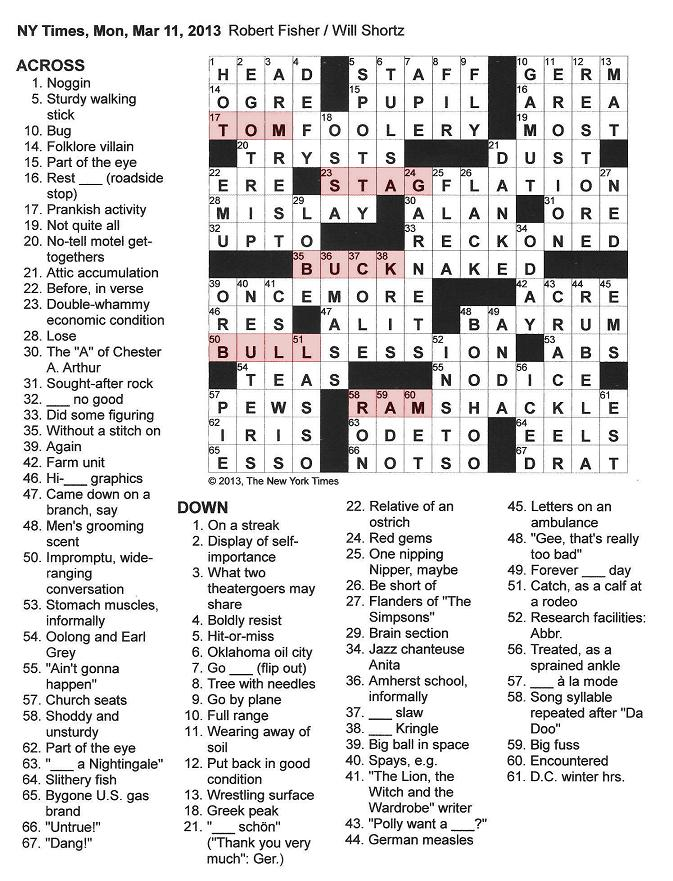 New+York+Times+Crossword+by+Robert+Fisher+edited+by+Will+Shortz+Monday