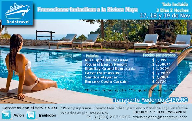 3 Dìas 2 Noches todo incluido en Riviera Maya el Puente de Noviembre