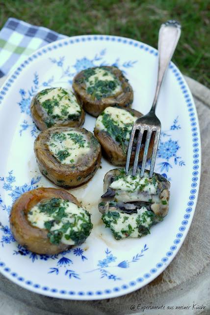Experimente aus meiner Küche: Gegrillte Champignons mit Mozzarella