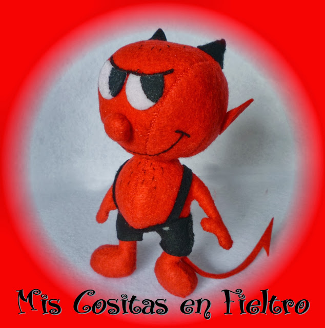 fieltro, muñeco, 3d, demonio, diablo, softie