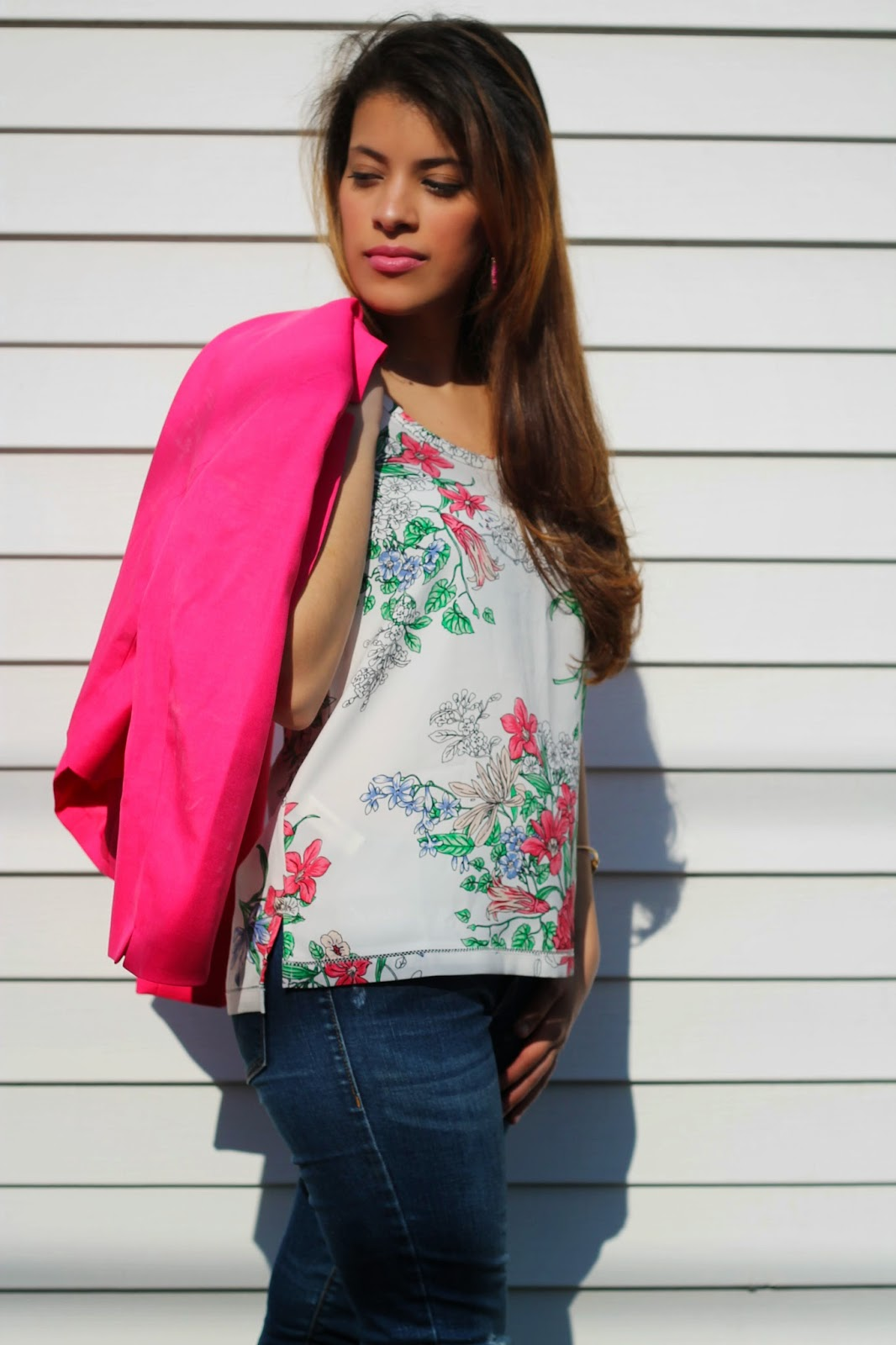 hot pink, blazer, casual, formal, workwear, floral, spring, summer, fashion, forever 21, jcpenney, ann taylor, mules, fun, girl, beautiful, blogger, chic, new, oldnavy, pinterest, spring fashion, weekday, weekend, woman, factory store, skinny jeans, bright, fun, look, outfit, white, brunette, girl, girly,