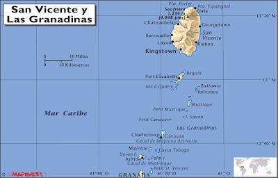 Mapa de San Vicente y las Granadinas, Atlas mundial