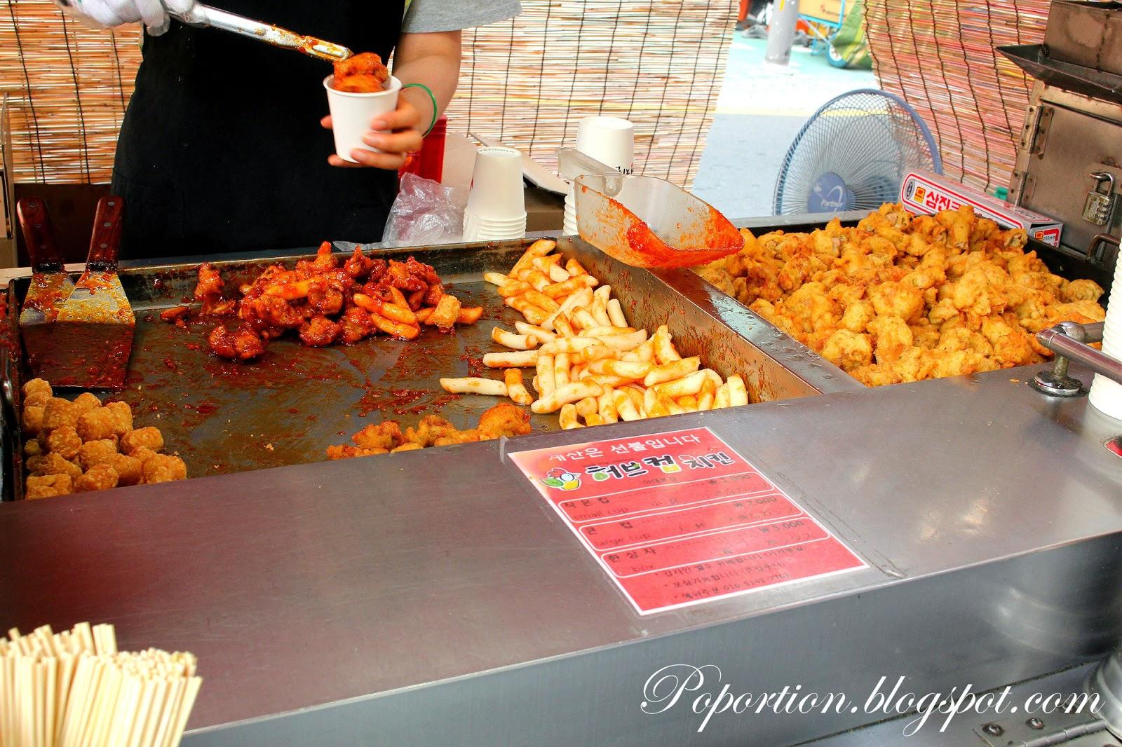 ewha womans university street food fried chicken hashbrown toboki sweet sauce best street food