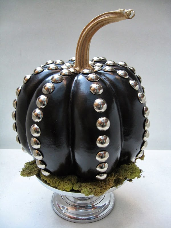 black lacquer studded pumpkin