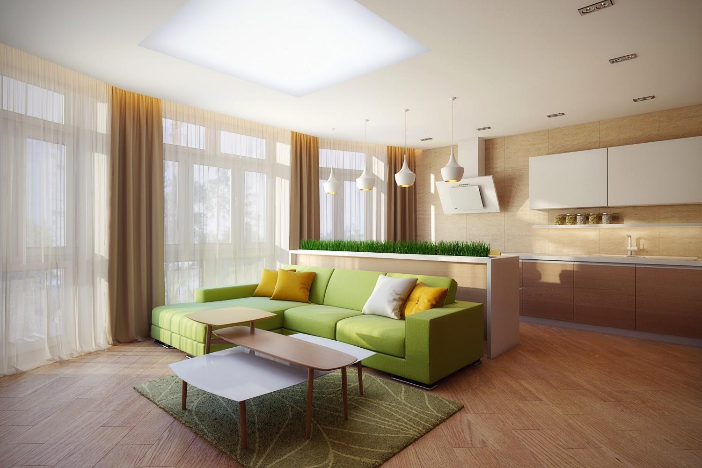 Салатовый диван в кухне-гостиной