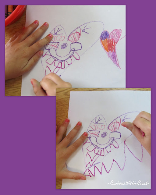 photo of: drawing with crayon, young child's drawing, graphic drawing, preschool drawing