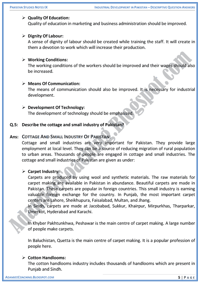 industrial-development-in-pakistan-descriptive-question-answers-pakistan-studies-ix