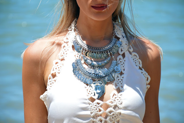statement silver boho necklace