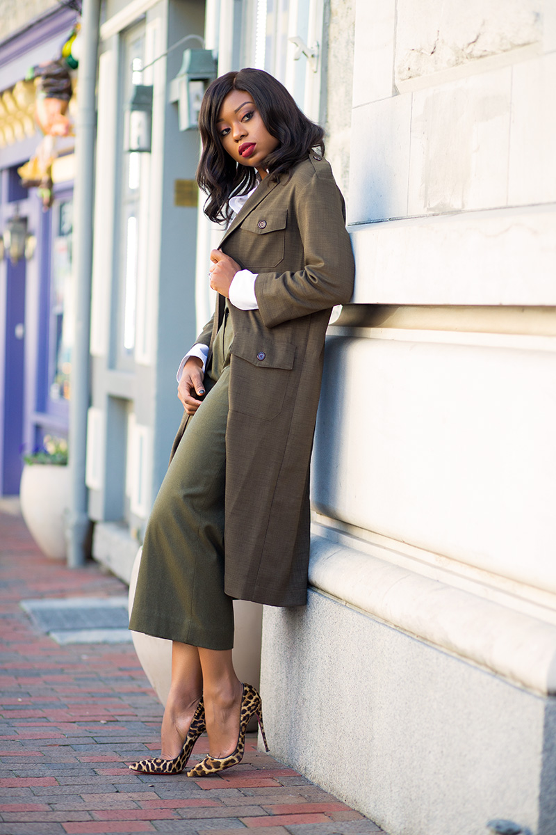 Jcrew dark green pants, asos military maxi blazer,  www.jadore-fashion.com