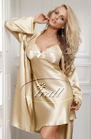 UK Nightwear - Luxury beige Nightie & Gown Set sizes 6-18