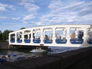 Toyomi Bridge spanning the Nihonbashi River, Chuo-ku, Tokyo.