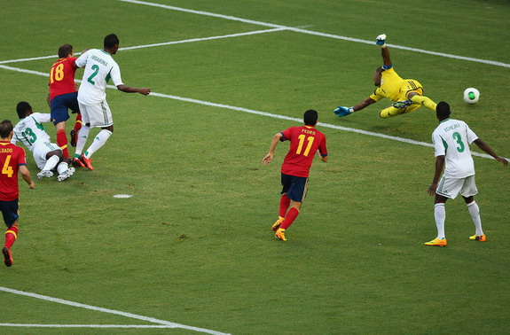 Spain player Jordi Alba scores his side's first goal against Nigeria