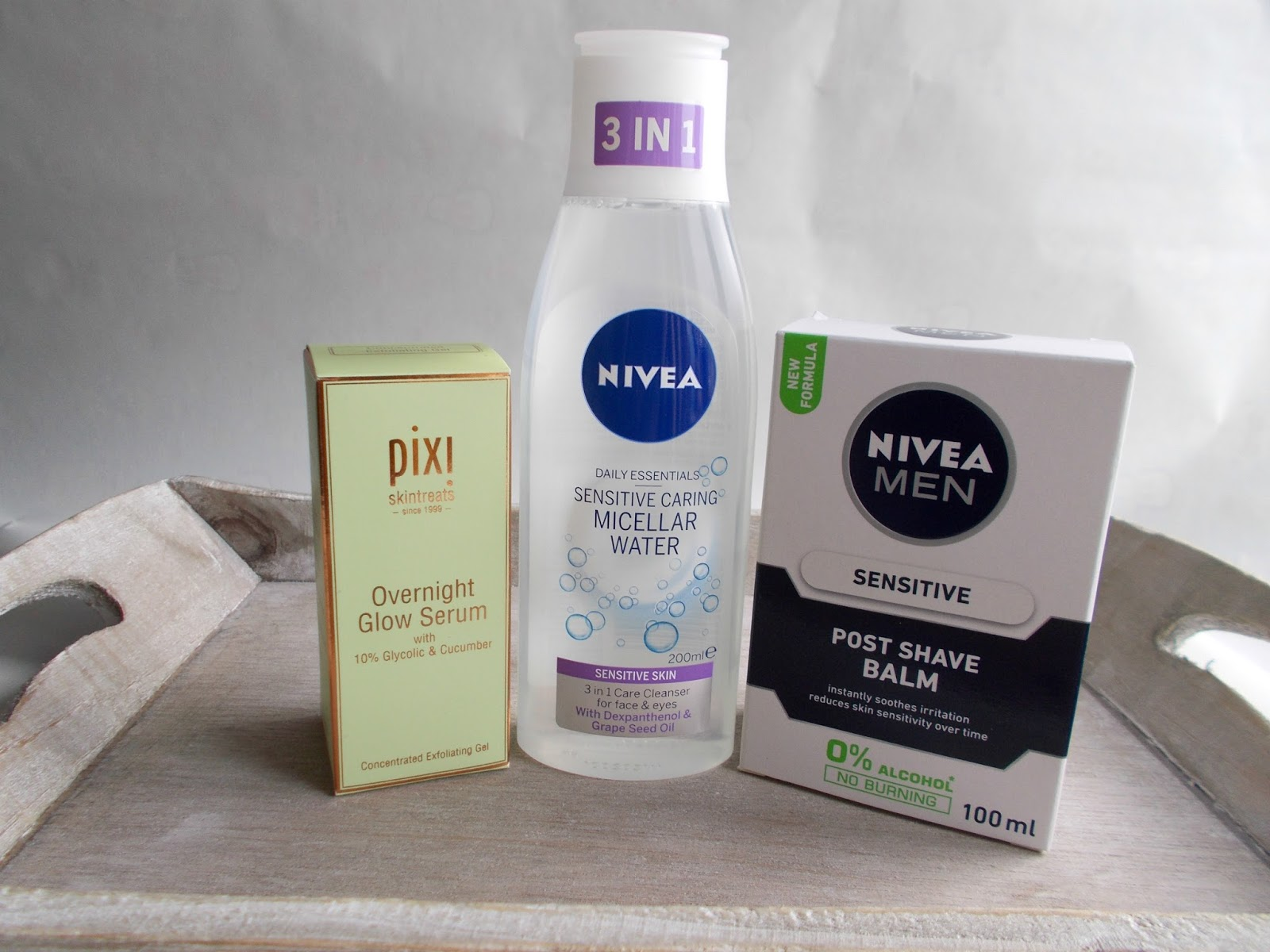skincare nivea sensitive caring micellar water sensitive post shave balm primer pixi overnight glow serum
