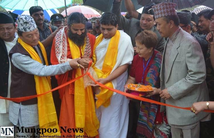 Baba Ramdev inaugurating Jogighat steel bridge at Mungpoo Darjeeling
