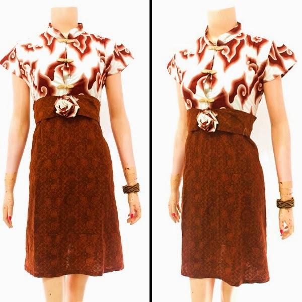 DB3836 Model Baju Dress Batik Modern Terbaru 2014