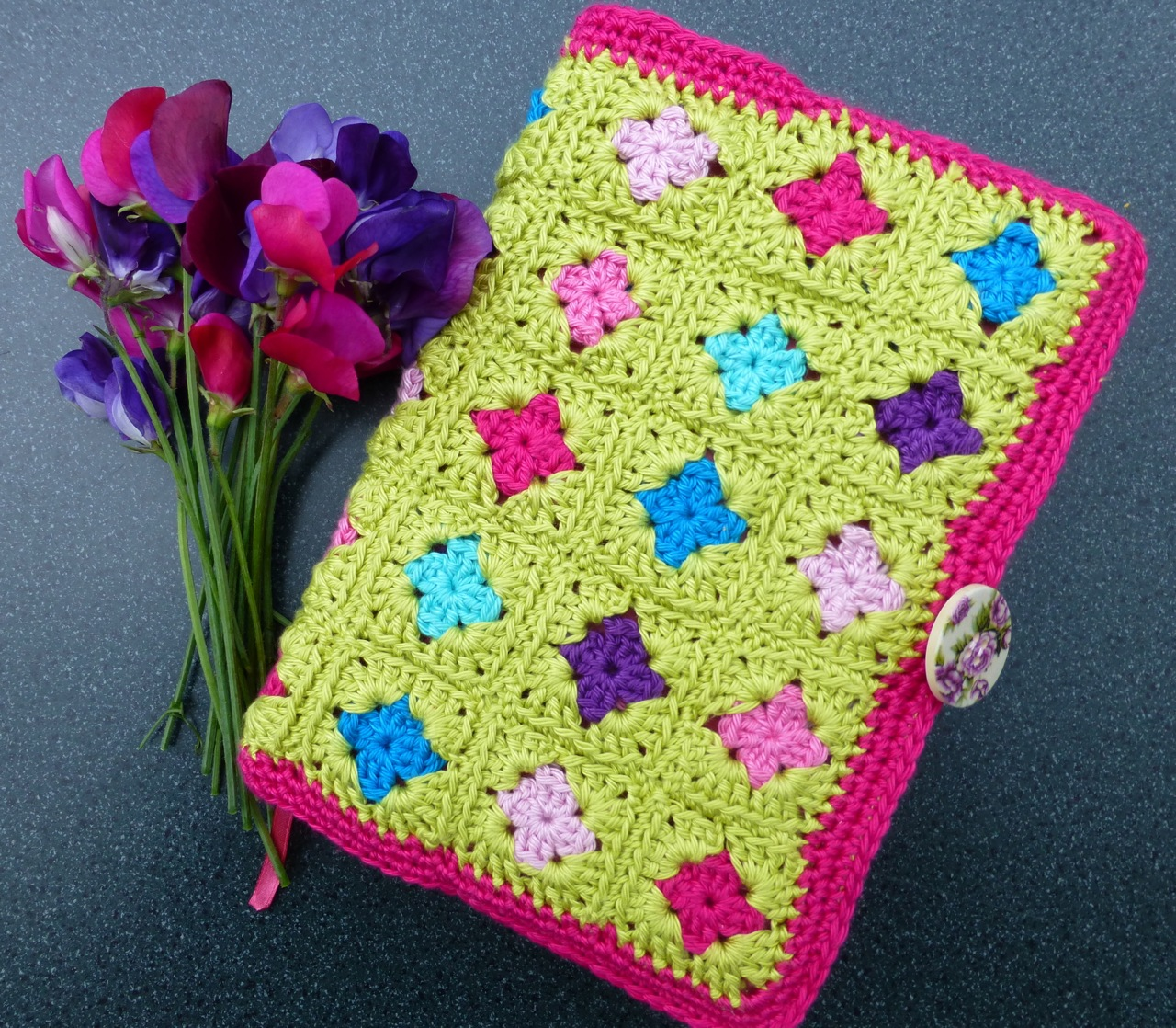 Book Cover Crochet Uk : Mrs thomasina tittlemouse granny square book cover