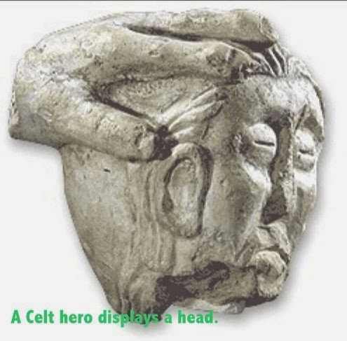 severed head  c300 BC, in stone, Celtic head hunting tradition